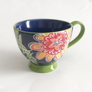 anthropologie footed floral coffee/tea mug